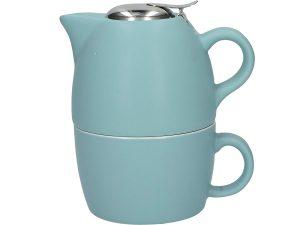 tetera ceramica retro con taza