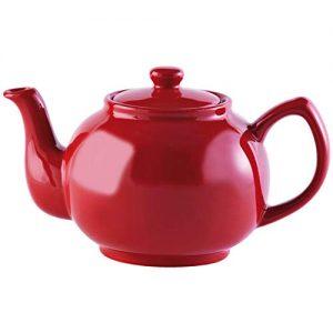 tetera de porcelana color rojo