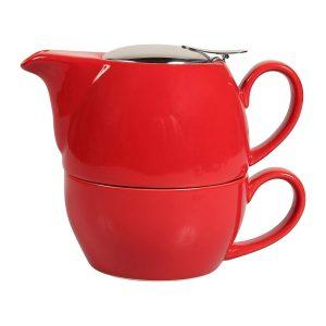 Tetera con taza roja