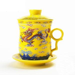 taza de té china de dragon amarillo